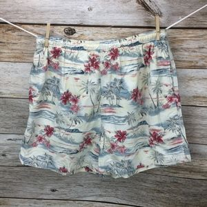 Tommy Bahama Swim Trunks Red Hibiscus Floral Print